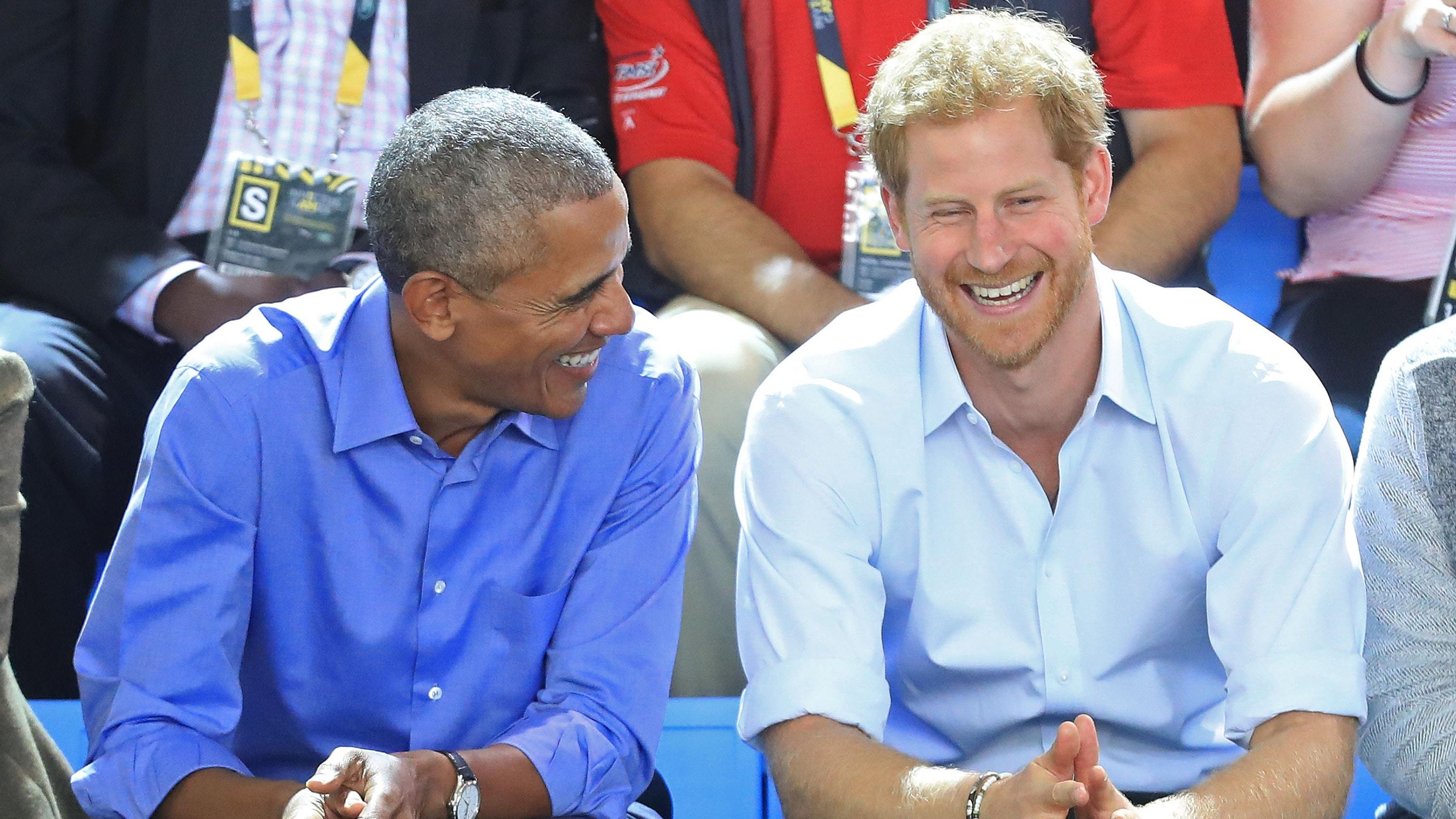 Former US president Barack Obama and Prince Harry at the Invictus Games (Danny Lawson/PA)
