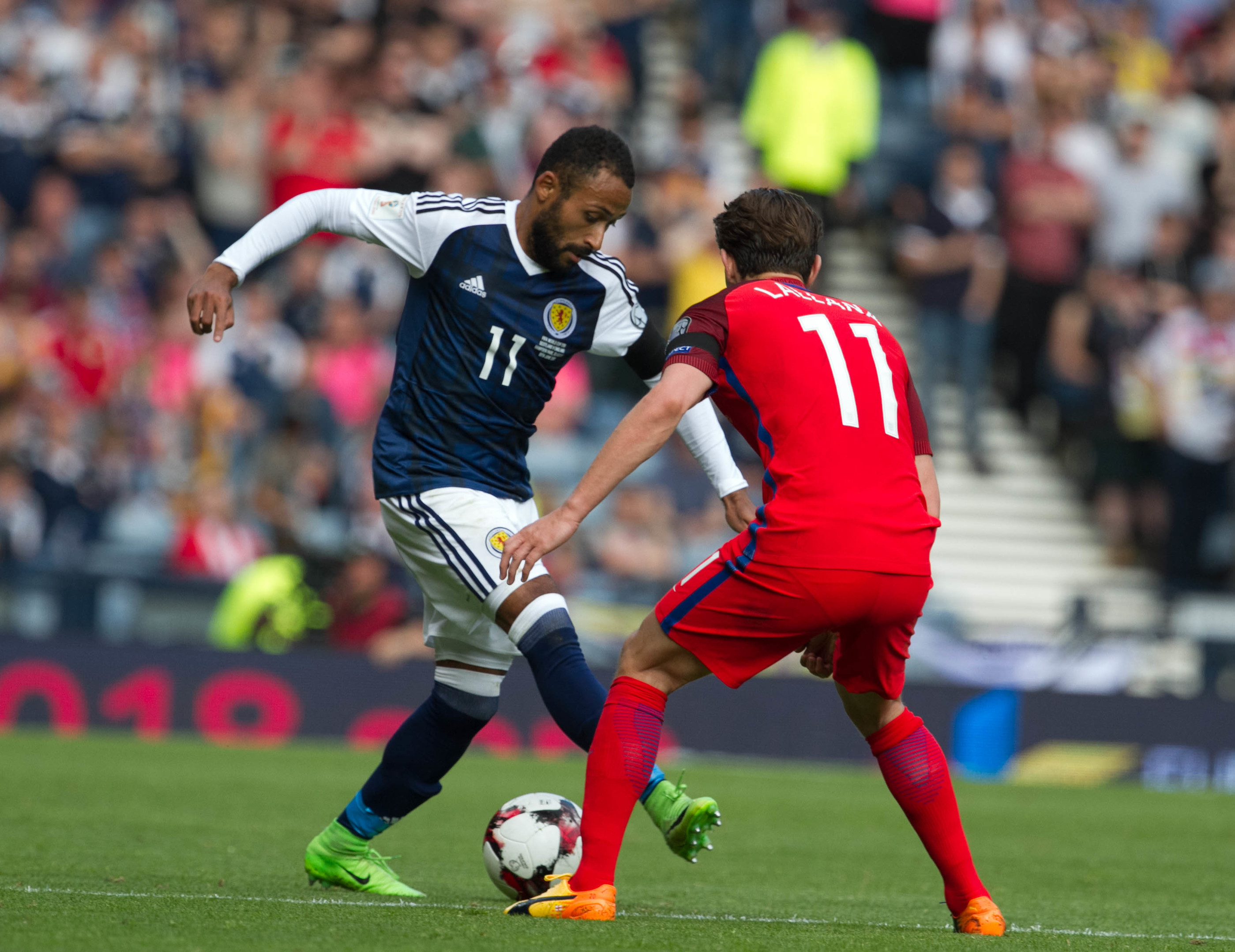 Ikechi Anya and Adam lallana during the 2018 World Cup Final qualifications at Hampden Park (iStock)