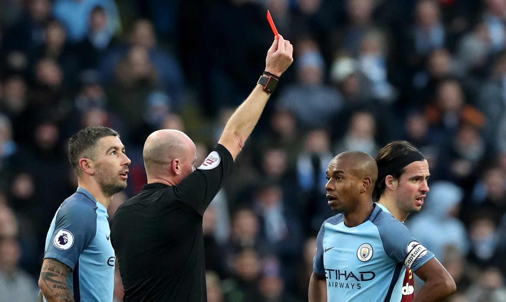 Manchester City's Fernandinho is shown a red card earlier this year (Martin Rickett/PA Wire)