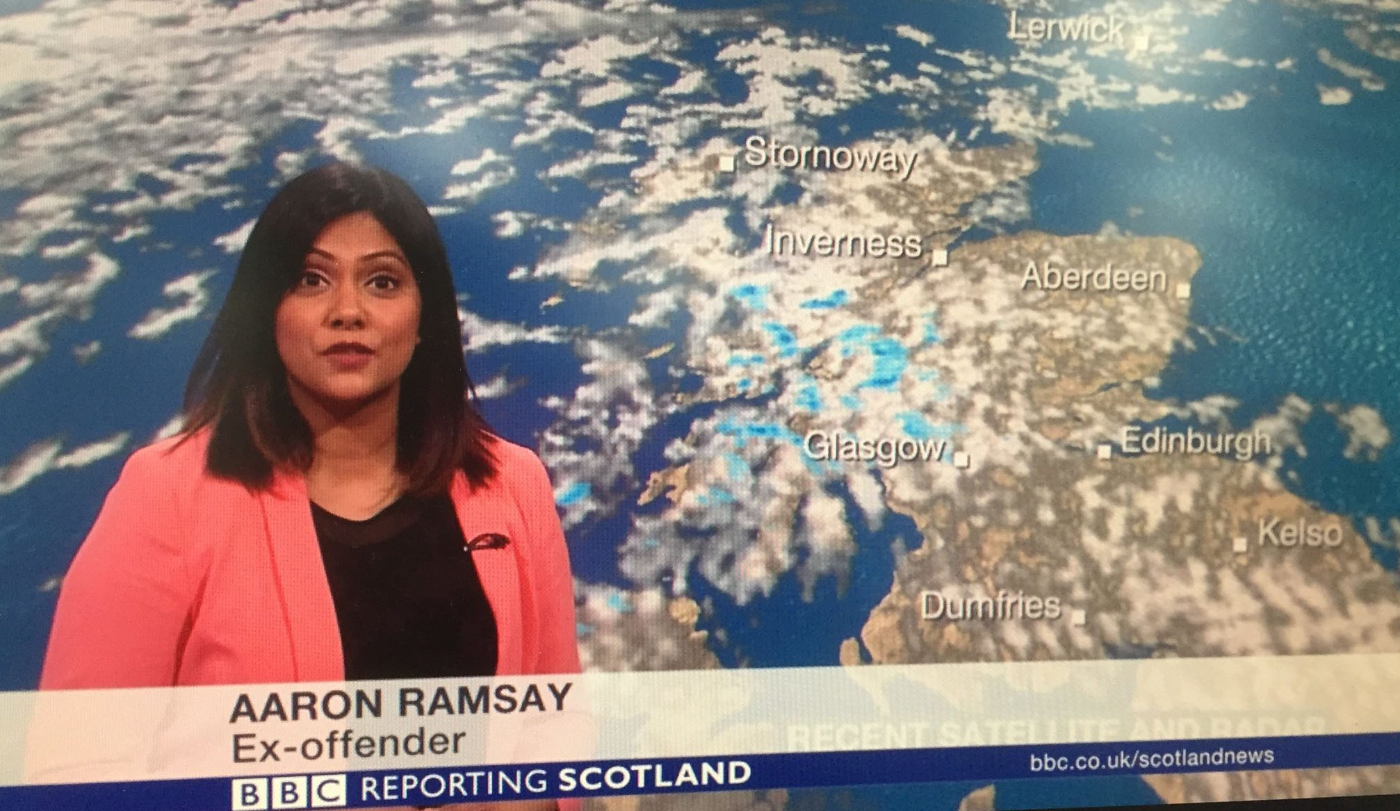 "Weather presenter Kawser Quamer was accidentally labelled an ""ex-offender"" during a live broadcast (BBC Scotland/PA Wire)"