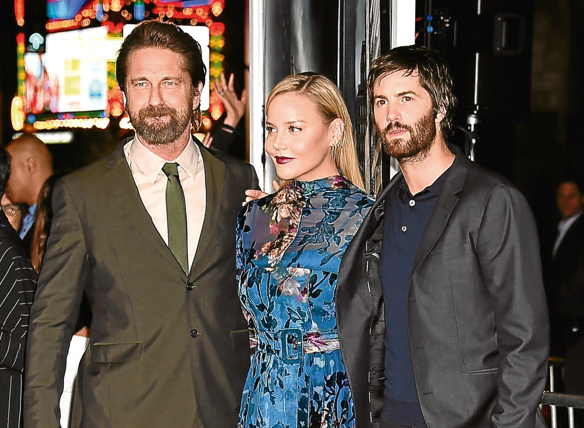 (L-R) Actors Gerard Butler, Abbie Cornish and Jim Sturgess attend the premiere of Warner Bros. Pictures' 'Geostorm' (Jeffrey Mayer/WireImage)