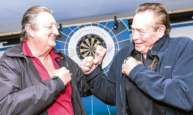 Bobby George and Eric Bristow on their tour of the western isles, in Stornoway. (Colin Cameron)