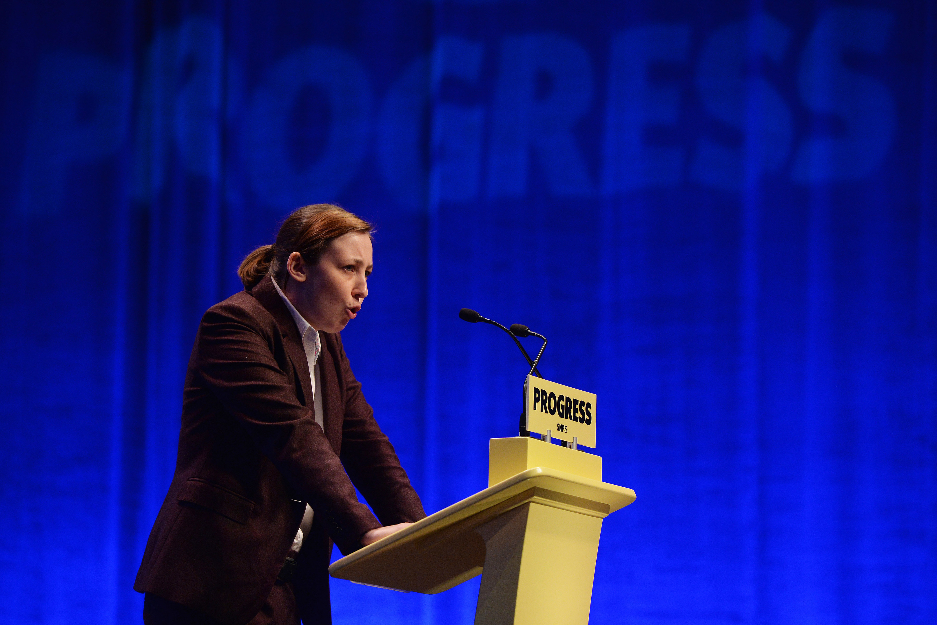 Mhairi Black MP, speaks to delegates ahead of First Minister & SNP Leader Nicola Sturgeon's keynote speech at The SNP Autumn Conference 2017 at the Scottish Exhibition and Conference Centre on October 10, 2017 in Glasgow, Scotland. (Mark Runnacles/Getty Images)