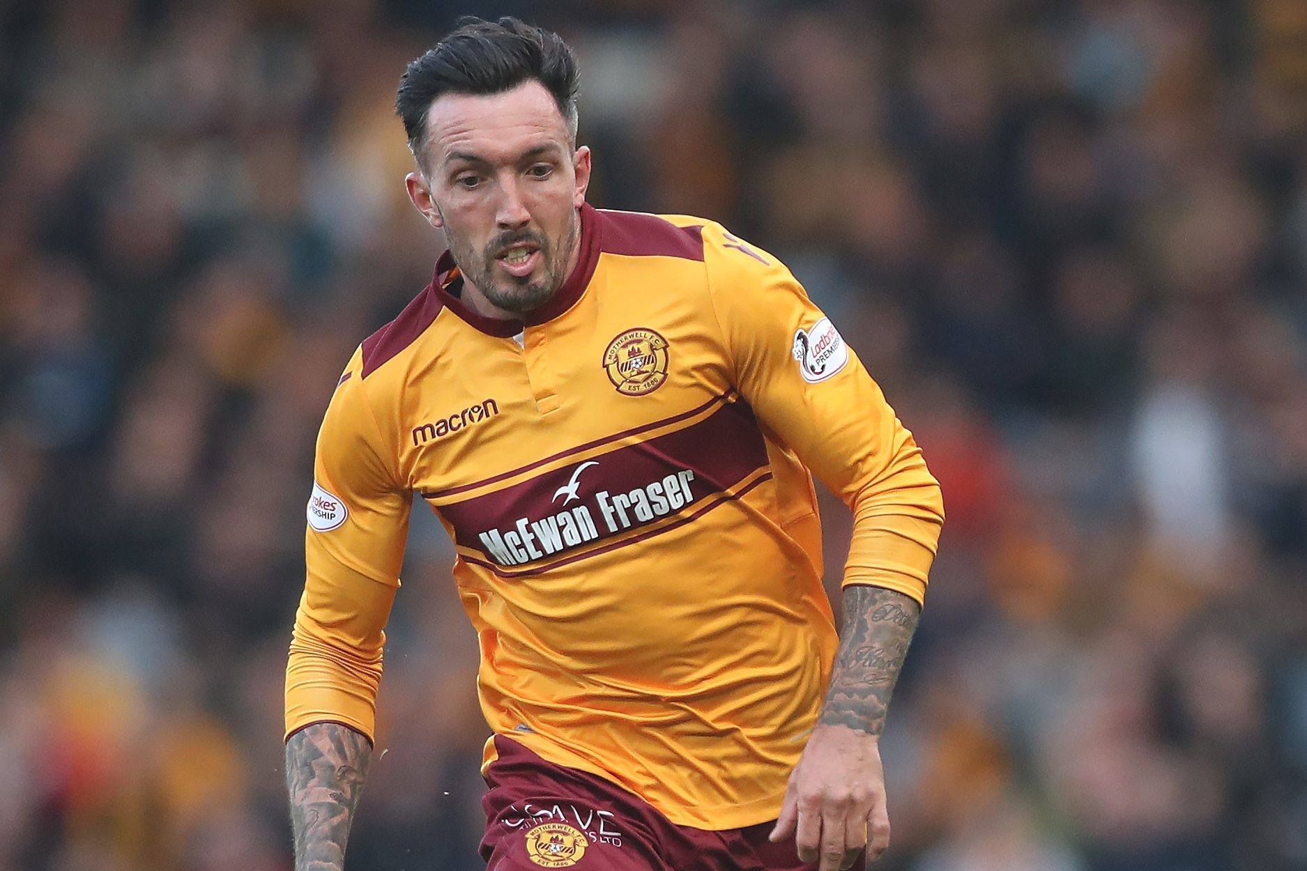 Ryan Bowman of Motherwell runs with the ball during the  Betfred League Cup Semi Final between Rangers and Motherwell at Hampden Park (Ian MacNicol/Getty Images)