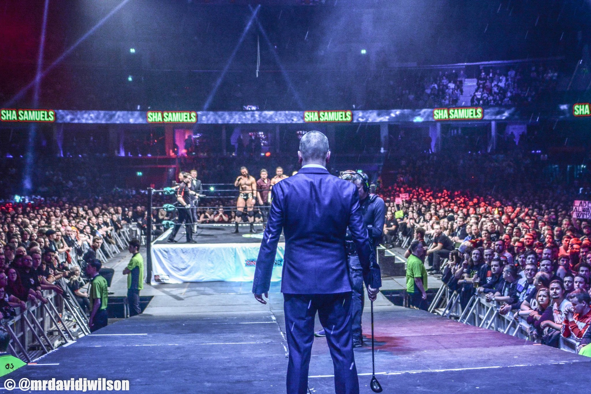 ICW owner Mark Dallas faces The Hydro crowd (David J. Wilson / ICW)