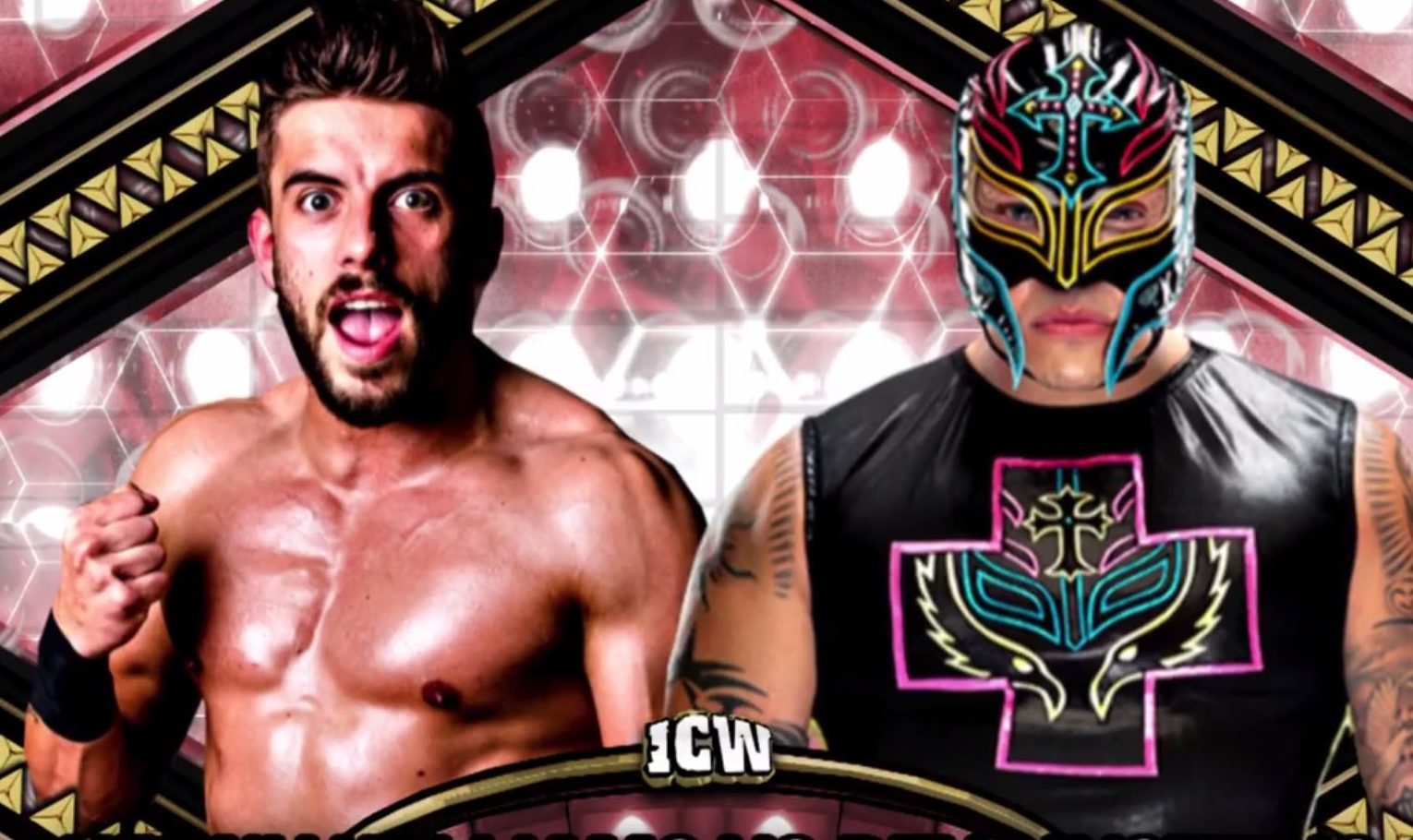 Kenny Williams (left) will take on legenedary WWE star Rey Mysterio at the Glasgow company's Hydro show (ICW)