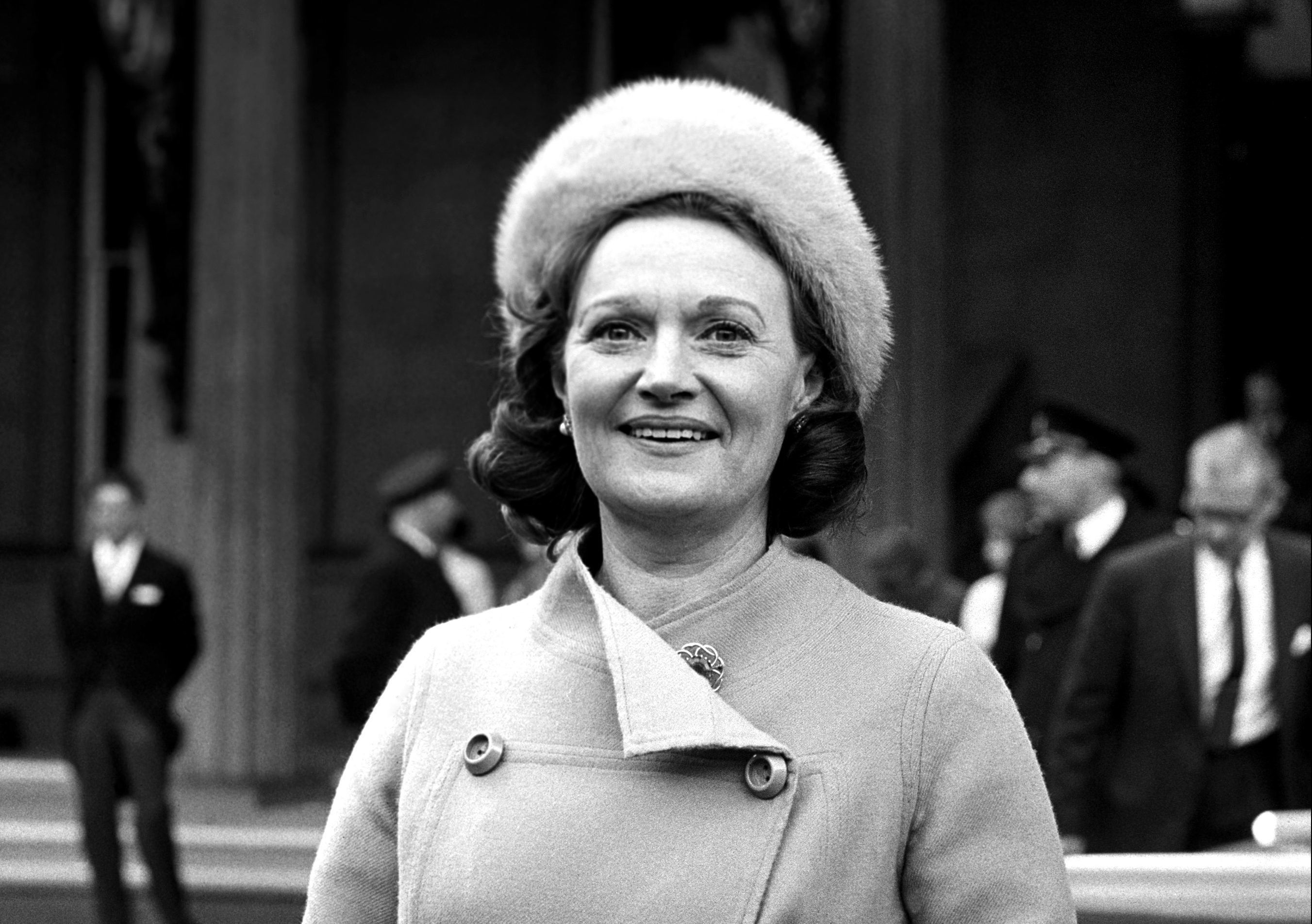 Mrs Muriel Spark after she had received the OBE from the Queen (PA)