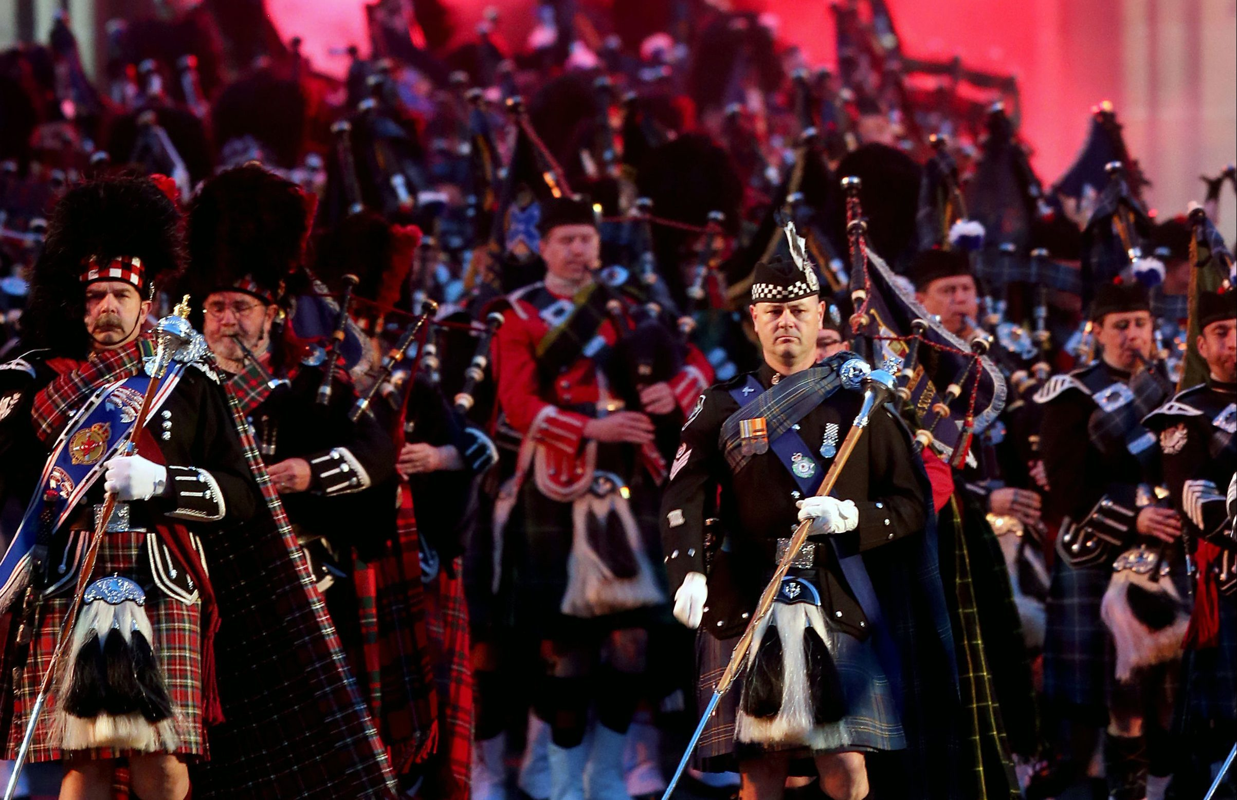 The massed pipes and drums during the Royal Edinburgh Military Tattoo (Jane Barlow/PA Wire)