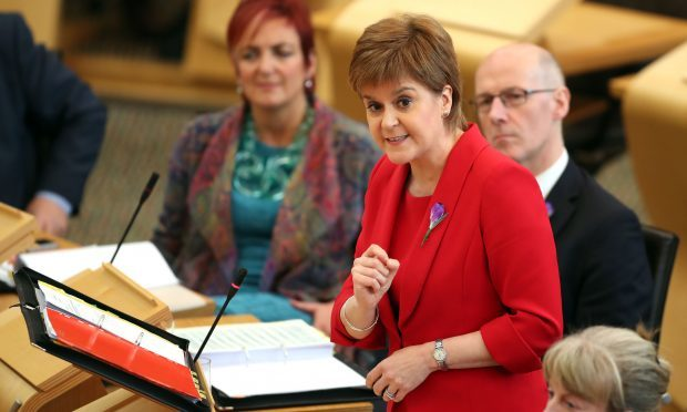 First Minister Nicola Sturgeon during First Minister's Questions at the Scottish Parliament in Edinburgh. (Jane Barlow/PA Wire)