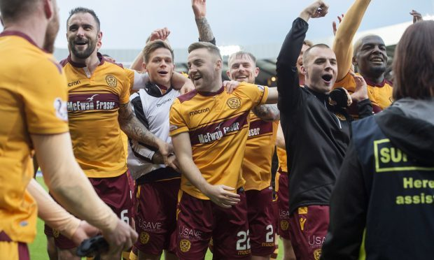 Motherwell players celebrate at full time (SNS Group)