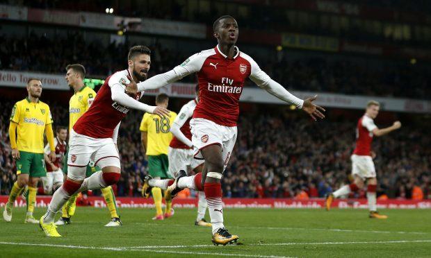 Eddie Nketiah celebrates scoring his Arsenal's first goal of the game (Paul Harding/PA Wire)
