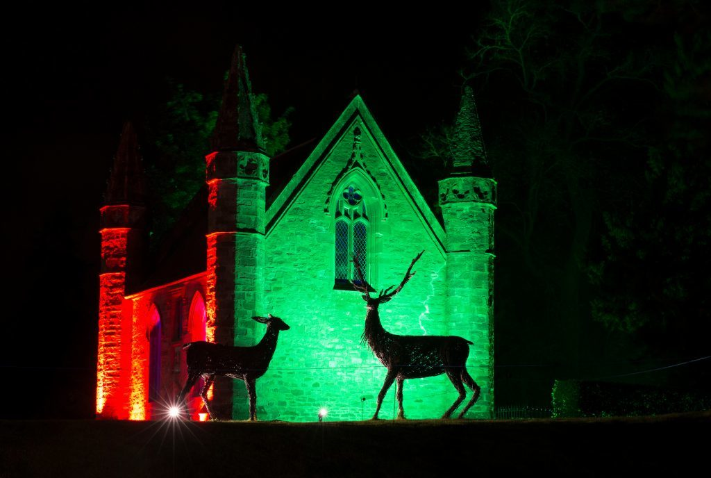 Scone Palace has teamed up with the creative team behind the Enchanted Forest to create a spine-tingling sound and light show this weekend to celebrate Halloween. (Graeme Hart. Copyright Perthshire Picture Agency)