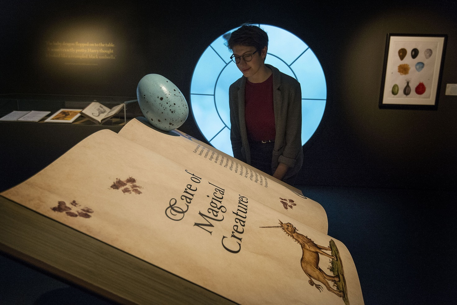 A visitor looks at a book of Care Of Magical Creatures during a press preview for the Harry Potter: A History of Magic exhibition at the British Library (Victoria Jones/PA)