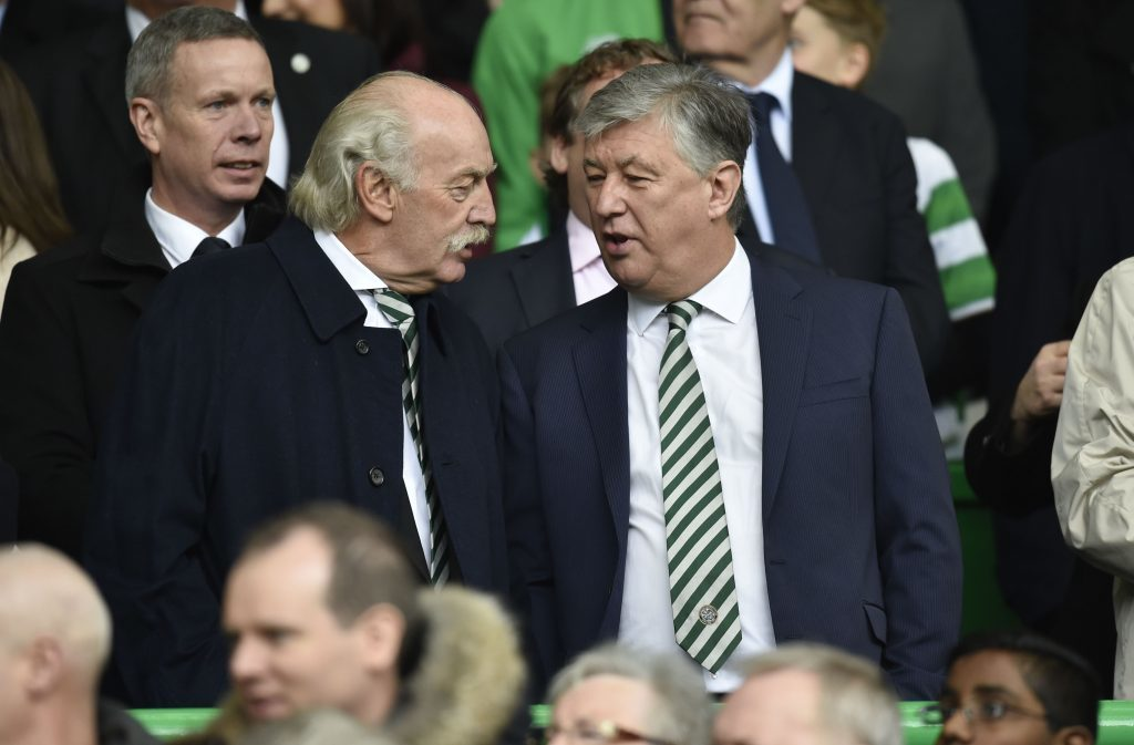 Celtic owner Dermot Desmond (left) with Chief Executive Peter Lawwell (PA)