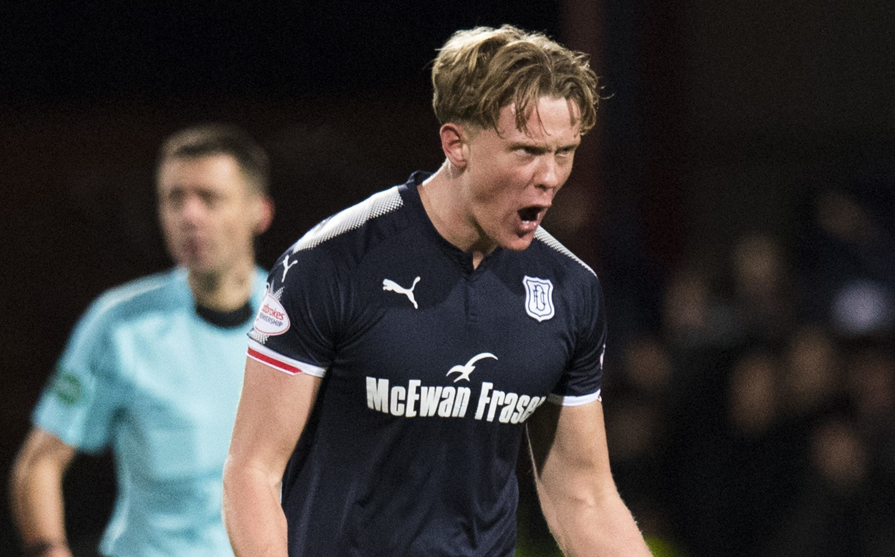 Dundee's Mark O'Hara celebrates his opening goal (SNS Group / Ross Parker)