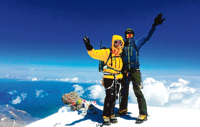 Mt Elbrus, June 2015: Liz and Peter on the summit