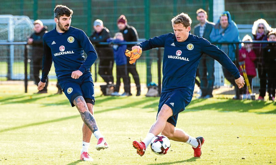 Scotland's Callum Paterson (L) and Christophe Berra training at Oriam (SNS Group)