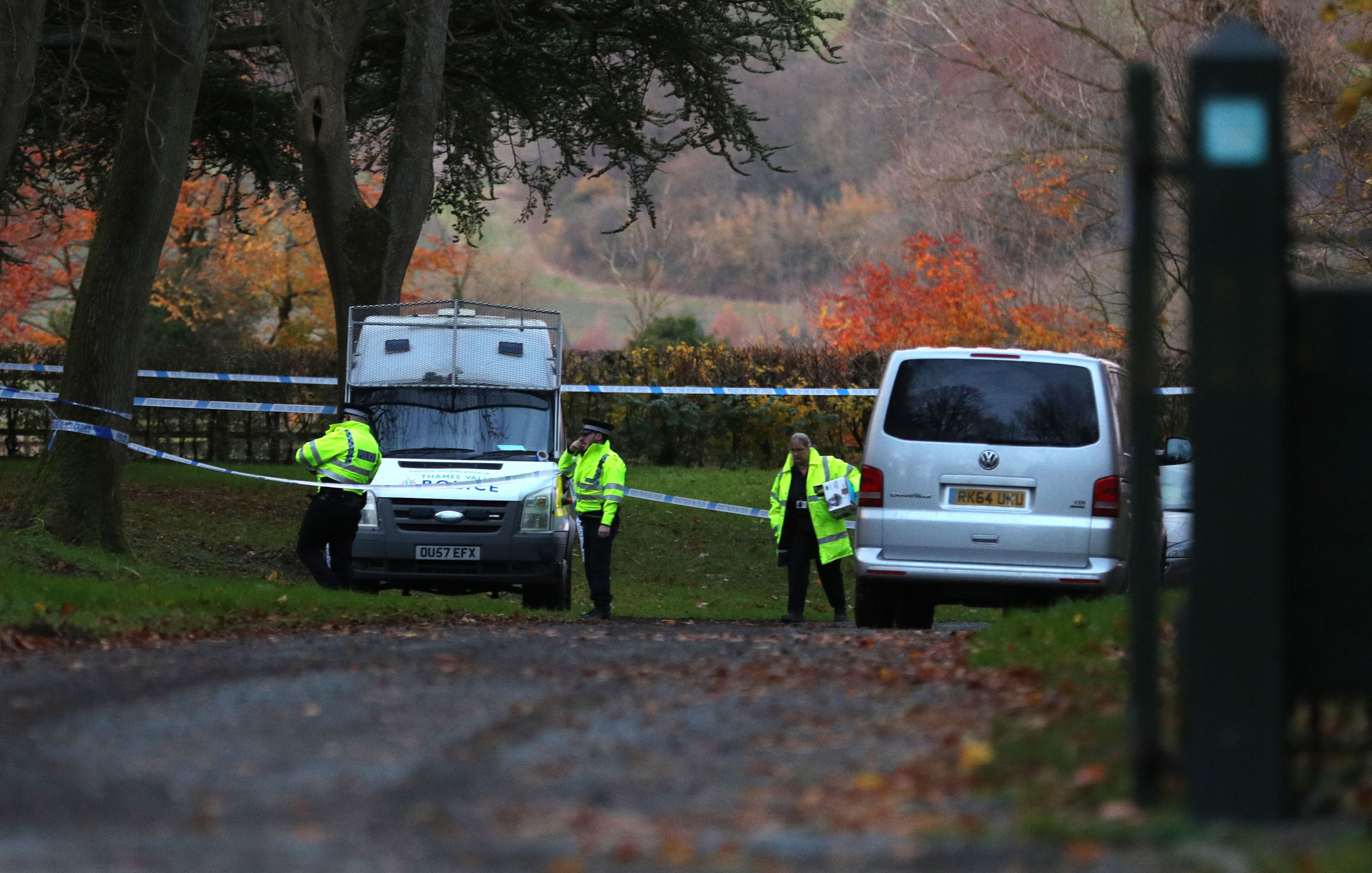 Police at the scene near Waddesdon, in Buckinghamshire (Aaron Chown/PA Wire)