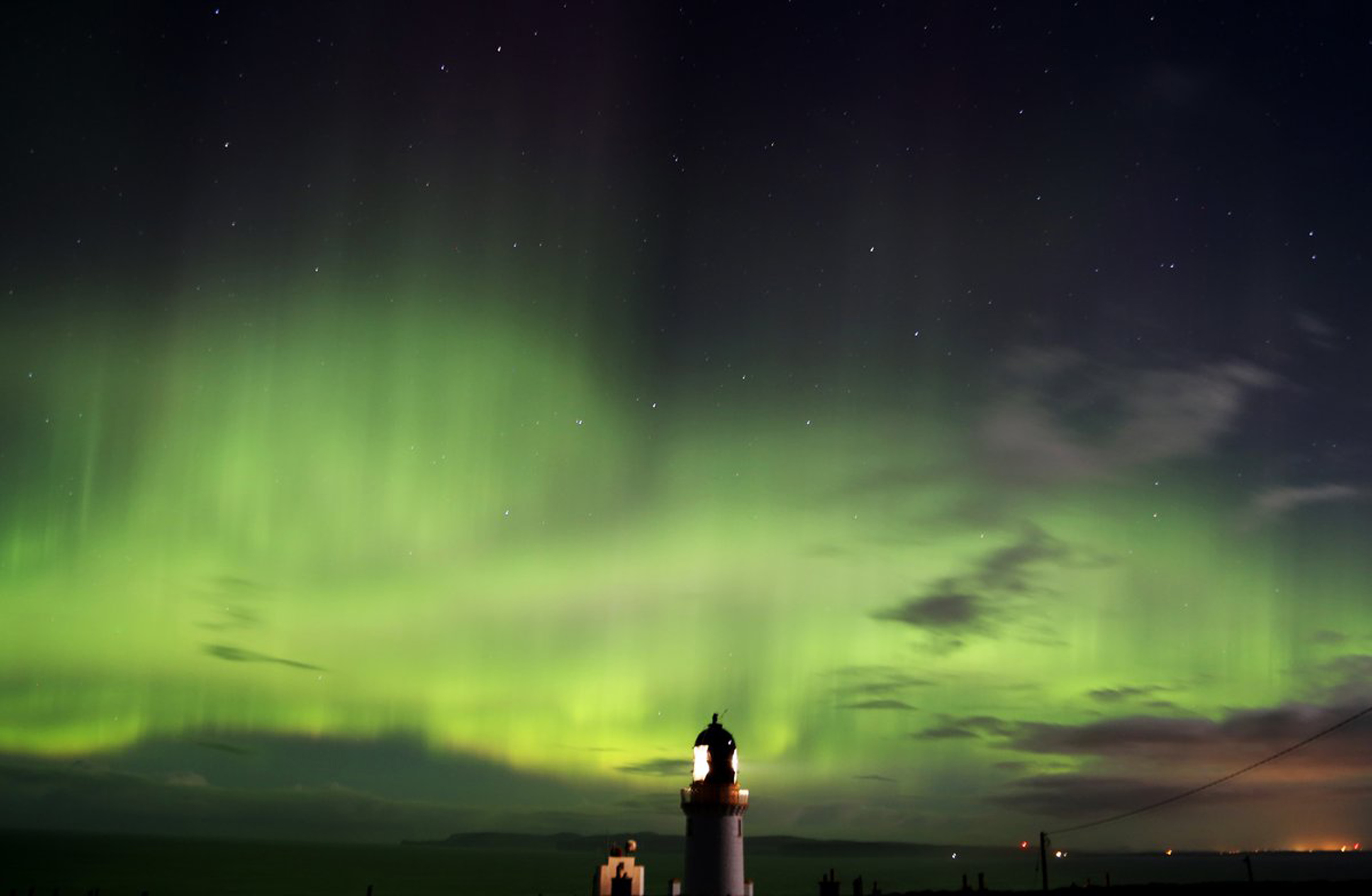 The Northern Lights at Dunnet Head in Scotland