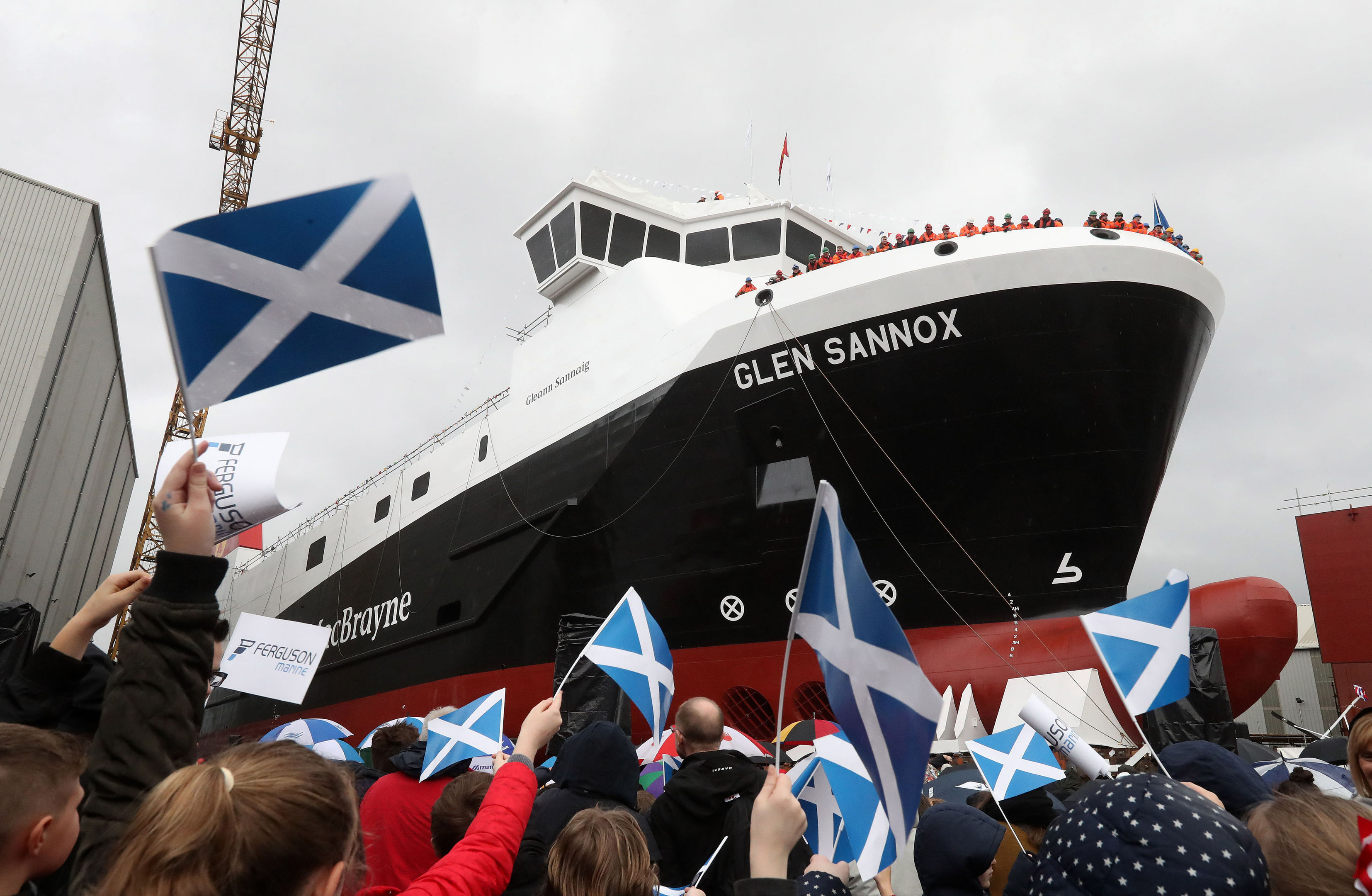 The launch of MV Glen Sannox, the UK's first LNG ferry, at Ferguson Marine Engineering in Port Glasgow (Andrew Milligan/PA Wire)