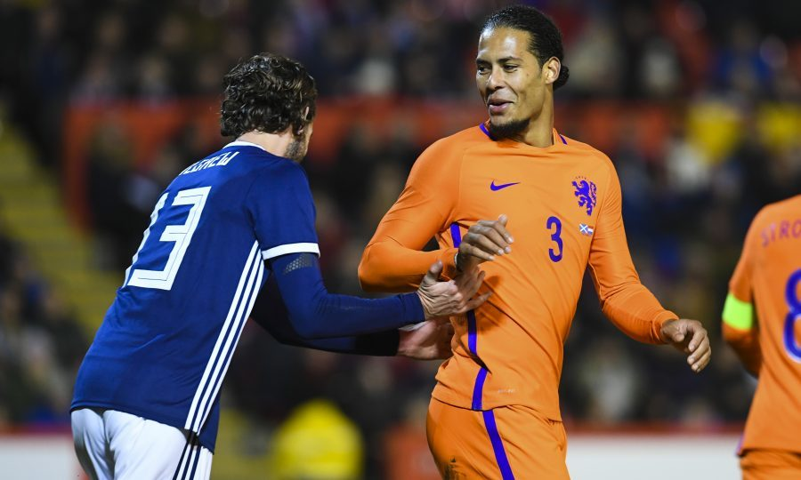 Virgil Van Dijk (right) with another former Hoops team-mate Charlie Mulgrew (SNS Group / Craig Williamson)