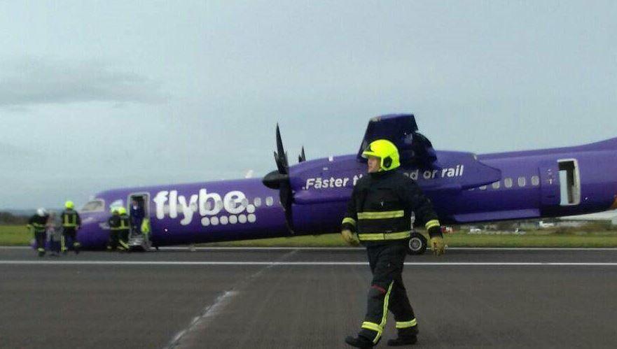 The aircraft made a crash landing at Belfast International (Trish Corbett / @trisha_c1 / Twitter)