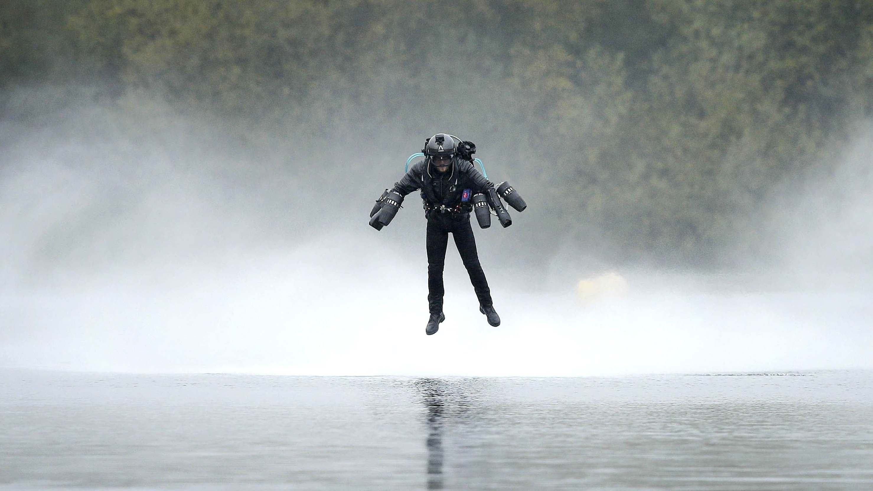 Richard Browning sets the Guinness World Record for the fastest speed in a body-controlled jet engine power suit (Matt Alexander/PA)