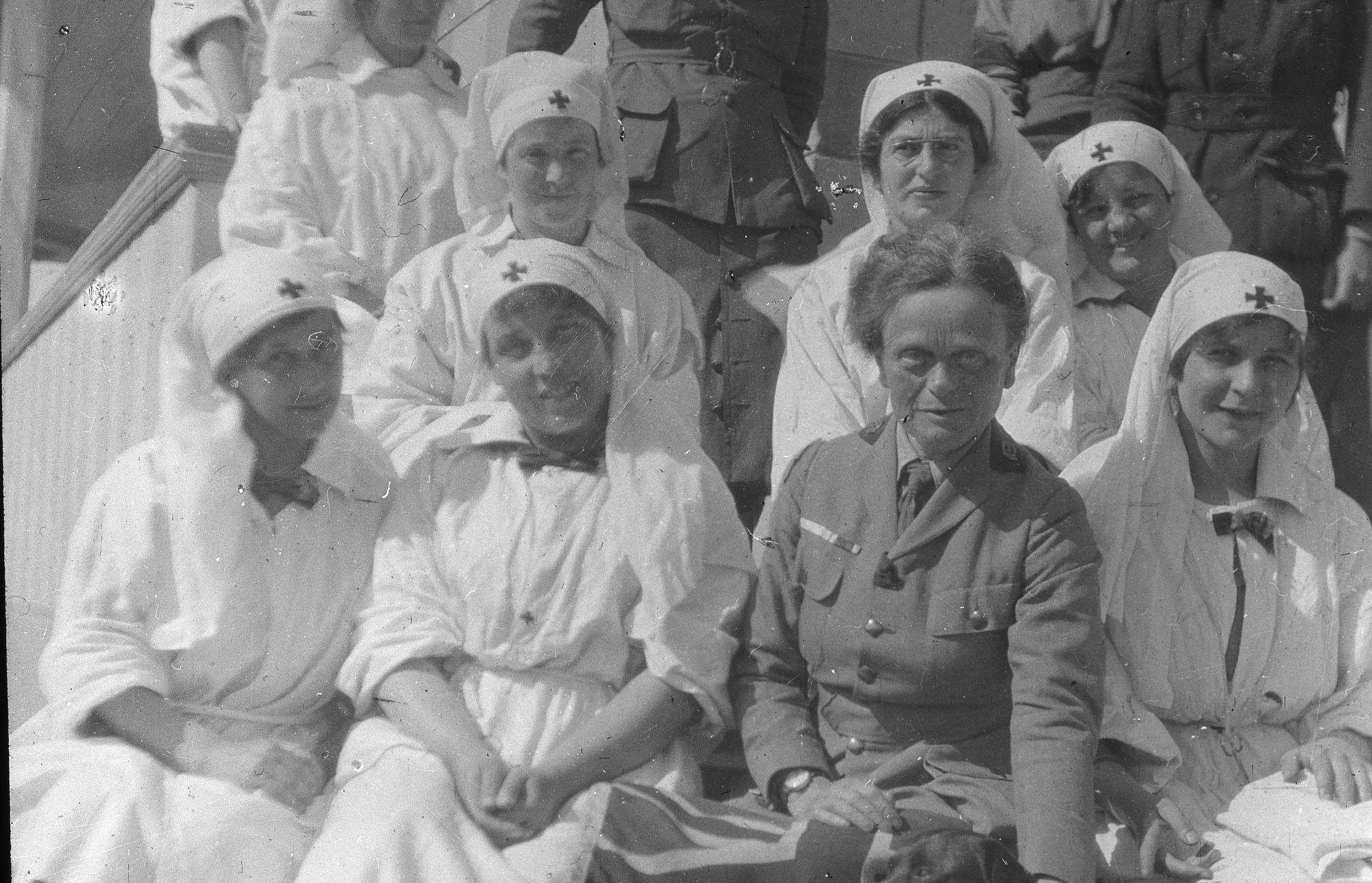 The Scottish Women's Hospitals led by founder Dr Elsie Inglis, (bottom row, second from right), cared for wounded soldiers on the frontline