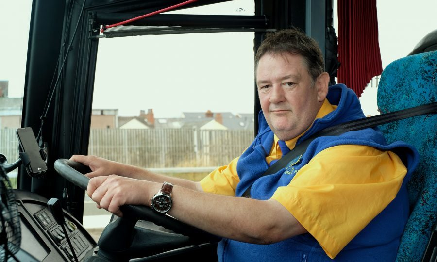 Johnny Vegas as driver Terry in Murder On The Blackpool Express (Ollie Upton / UKTV)