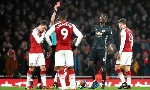 Paul Pogba sees red against Arsenal (Julian Finney / Getty Images)