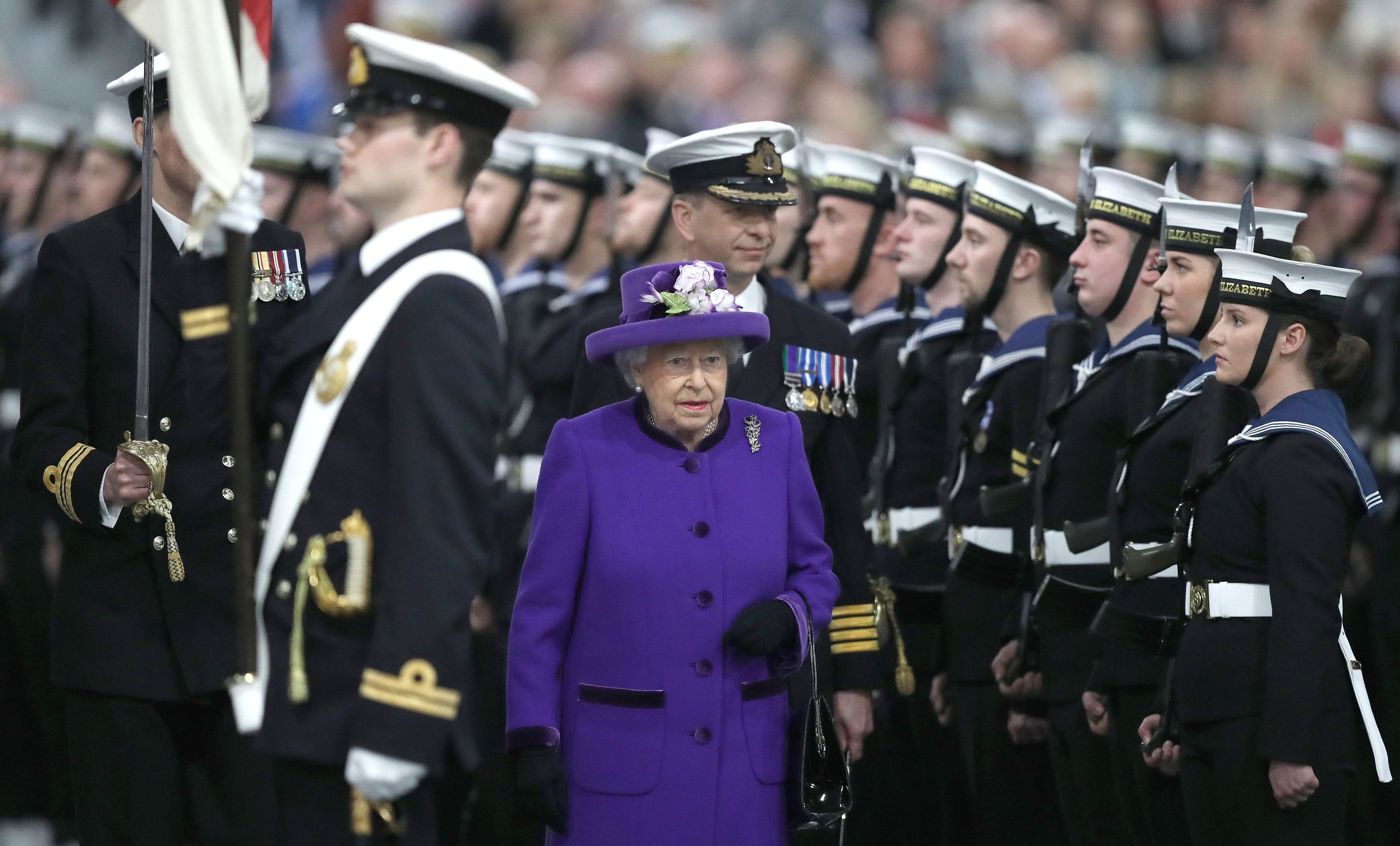 Queen Elizabeth II arrives for the commissioning ceremony of Britain's biggest and most powerful warship HMS Queen Elizabeth (Andrew Matthews/PA Wire)
