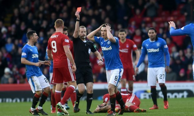 Ryan Jack was sent off by referee Willie Collum (Darrell Benns / DC Thomson)