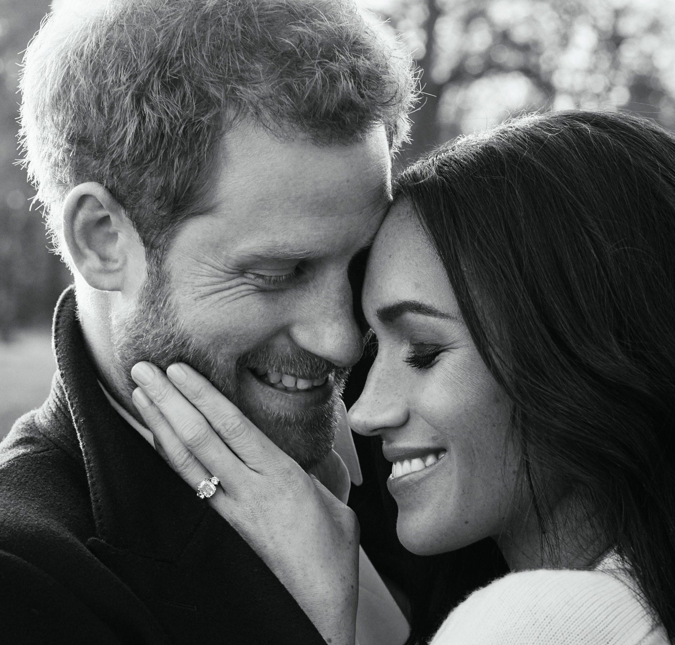One of two official engagement photos released by Kensington Palace of Prince Harry and Meghan Markle taken by Alexi Lubomirski earlier this week at Frogmore House, Windsor. (Alexi Lubomirski)