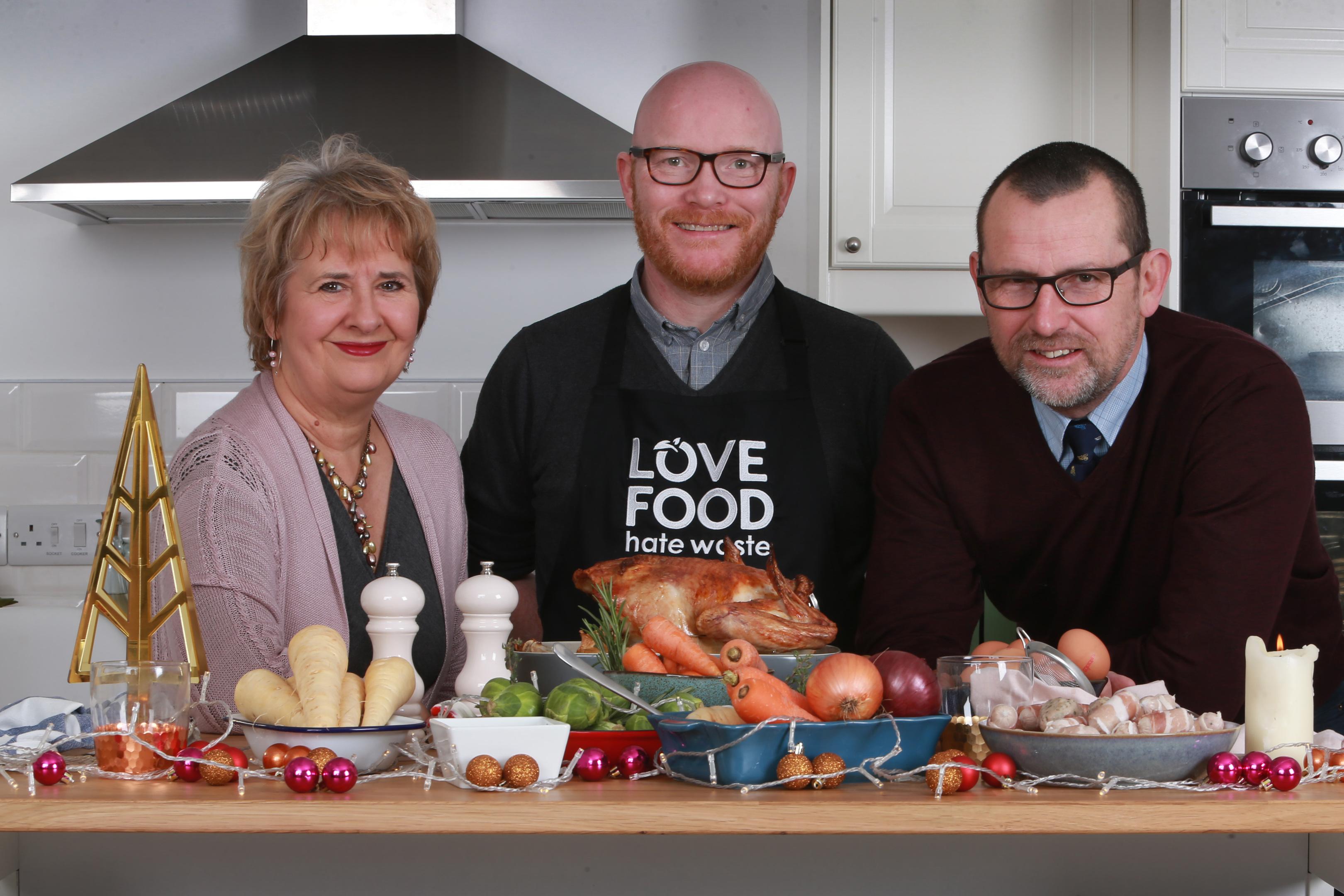 Environment Secretary Roseanna Cunningham, Chef Gary Maclean and Chief Executive of Zero Waste Scotland Iain Gulland. (Stewart Attwood/Zero Waste Scotland/PA Wire)