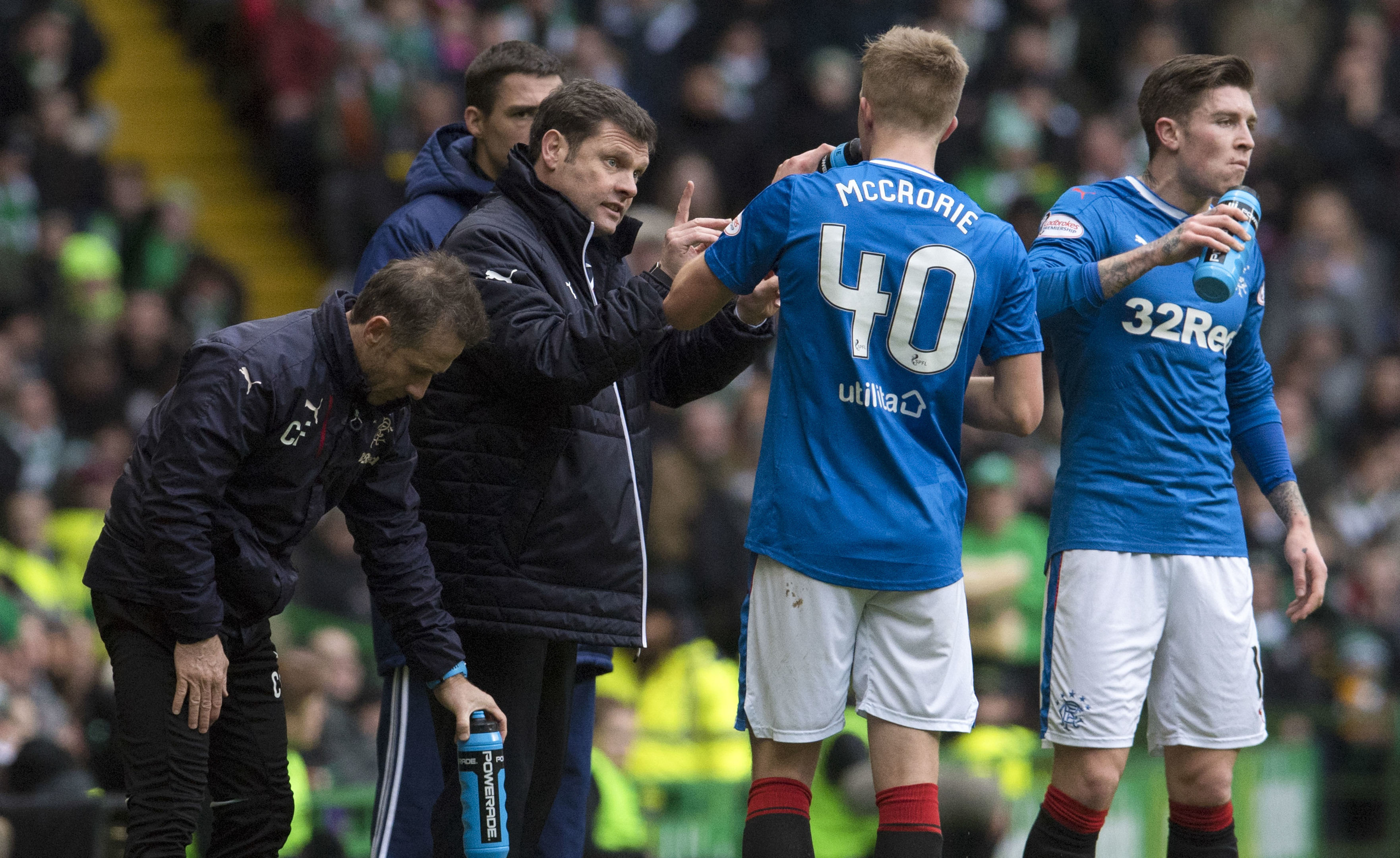 Rangers manager Graeme Murty (2nd from left) with Ross McCrorie (SNS Group / Craig Foy)