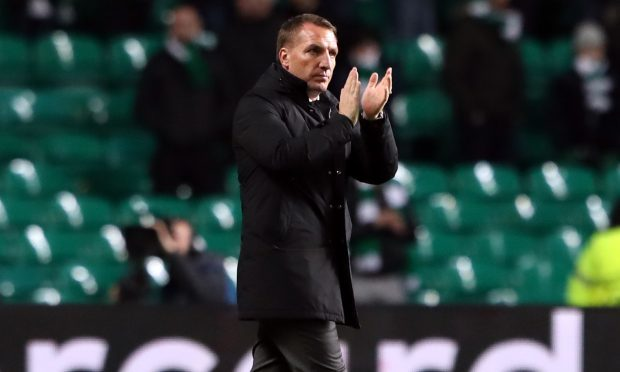 Celtic manager Brendan Rodgers applauds the fans after the match (Andrew Milligan/PA Wire)