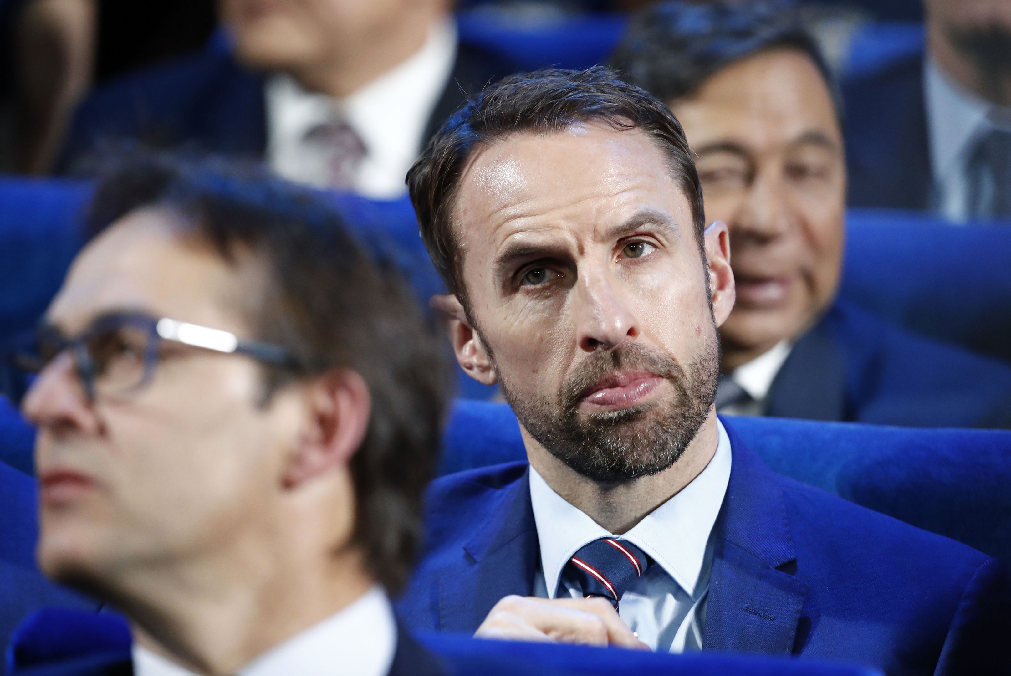 Gareth Southgate attends the 2018 World Cup draw (AP Photo/Pavel Golovkin)