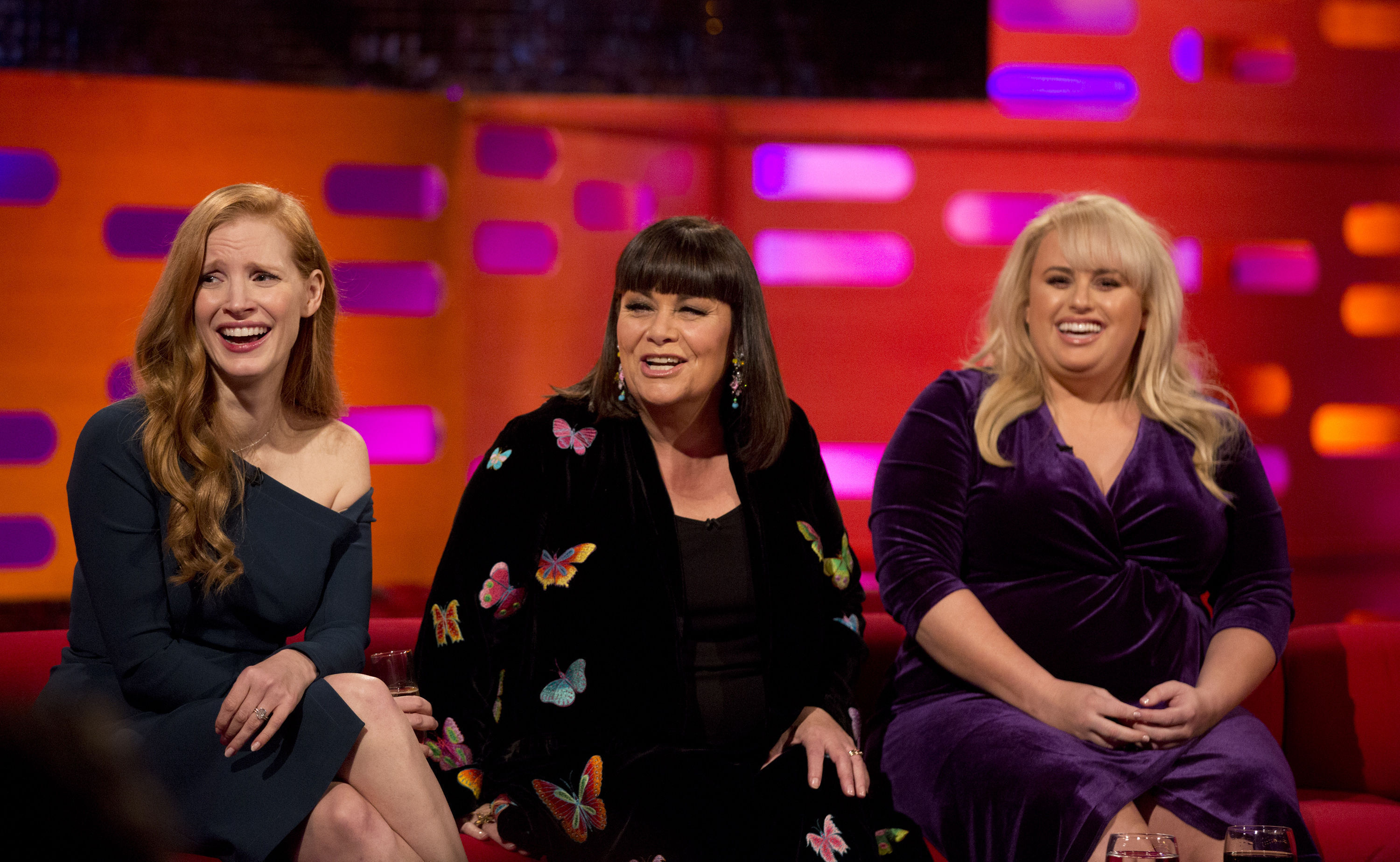 Jessica Chastain, Dawn French and Rebel Wilson during filming of the Graham Norton Show (Isabel Infantes/PA)