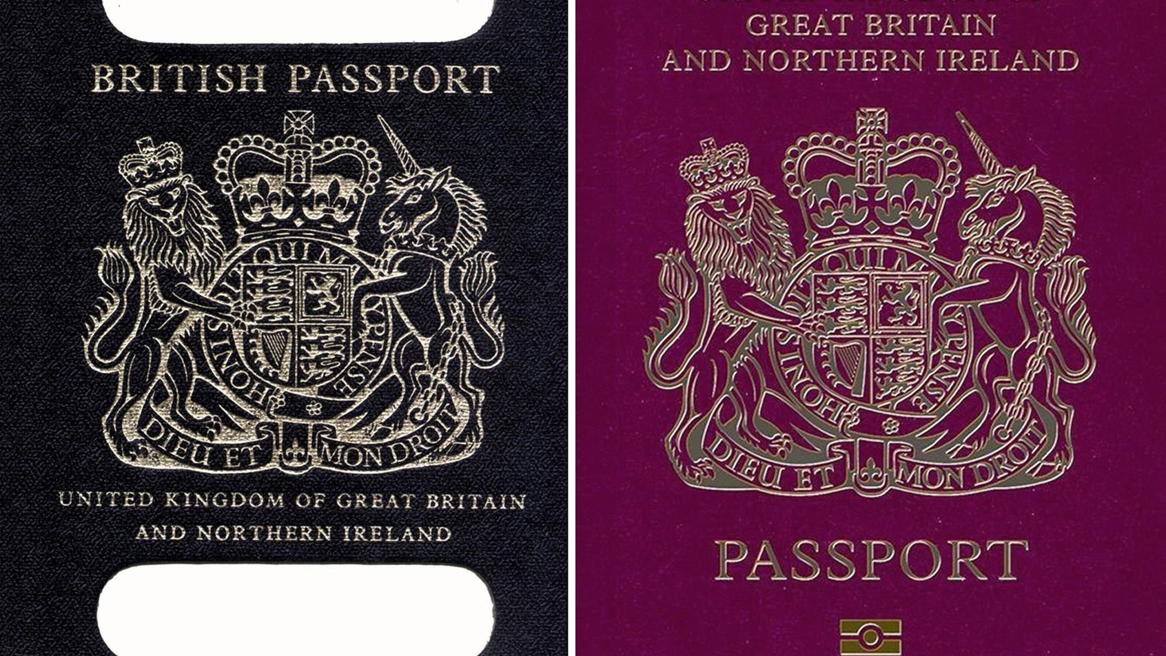 An old British passport (left) and a burgundy UK passport (PA)