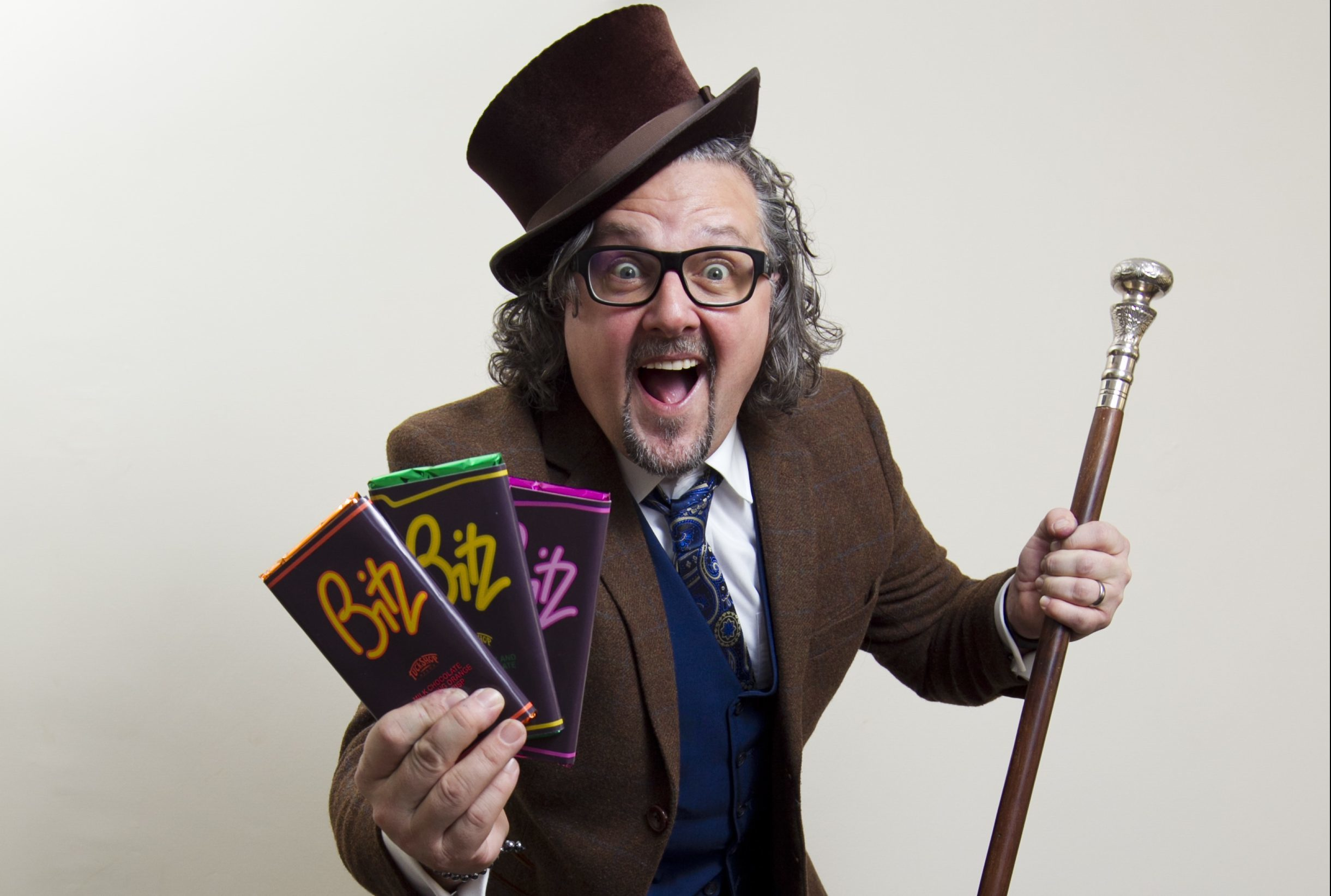 Roddy Nichol (aka Willy Wonka) who makes old retro sweets and chocolate. (Andrew Cawley/Dc Thomson)