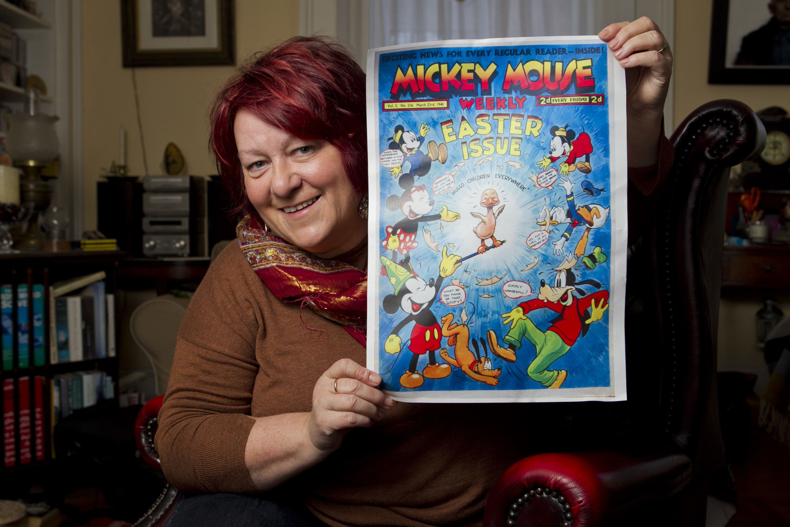 Fiona MacKenzie, who is the NTS curator at Canna House, and has discovered hundreds of very old antique Disney / Mickey Mouse comic books in the House's collection. (Andrew Cawley)