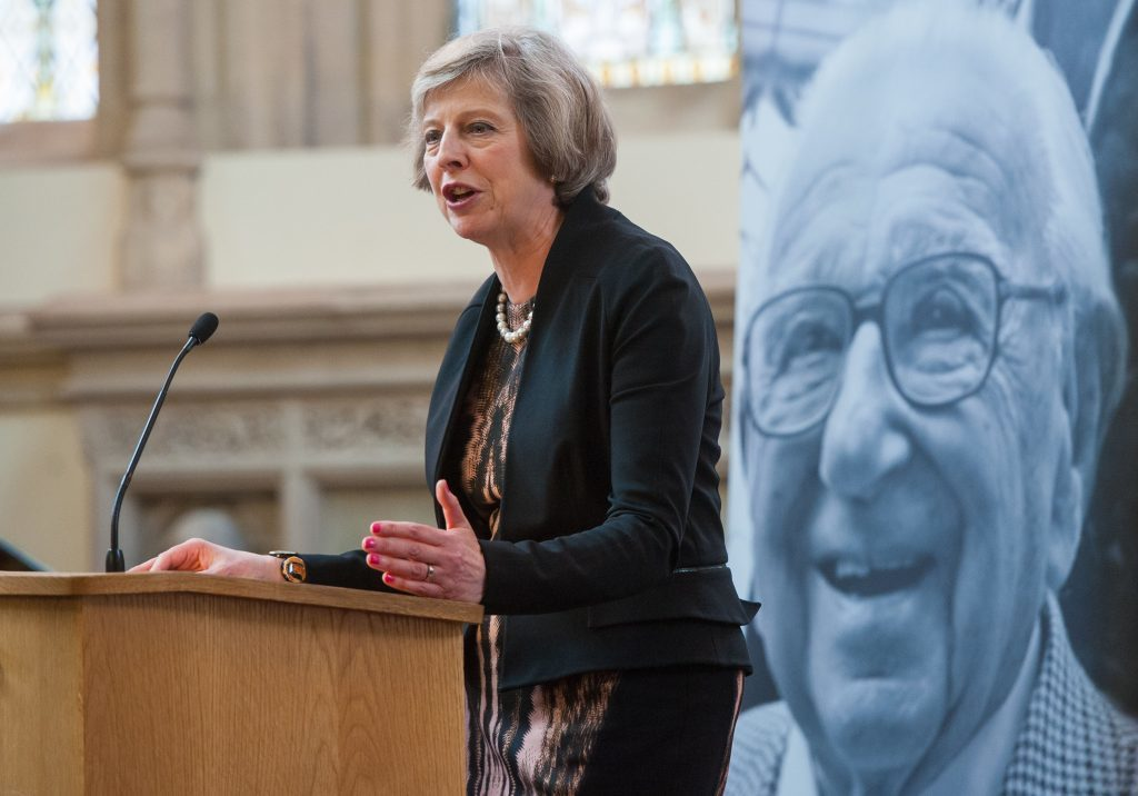 Then Home Secretary Theresa May speaks at the memorial service for Sir Nicholas Winton (PA)