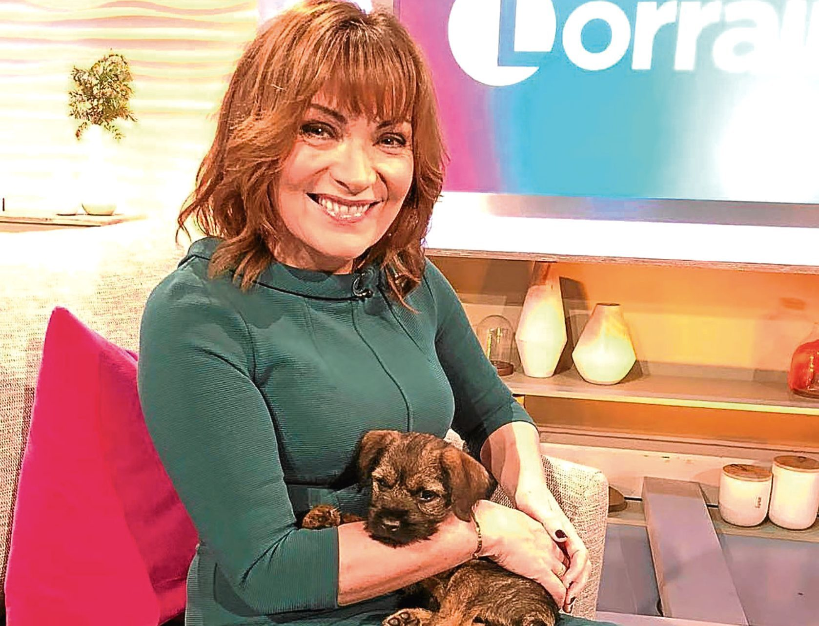 Lorraine Kelly with her new puppy, Angus