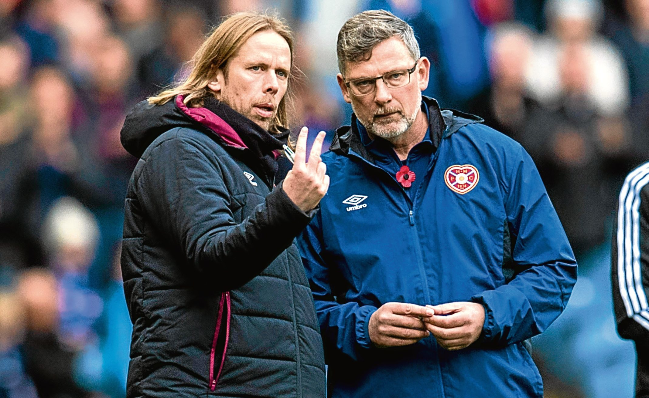 Hearts manager Craig Levein with Austin McPhee (SNS Group / Alan Harvey)