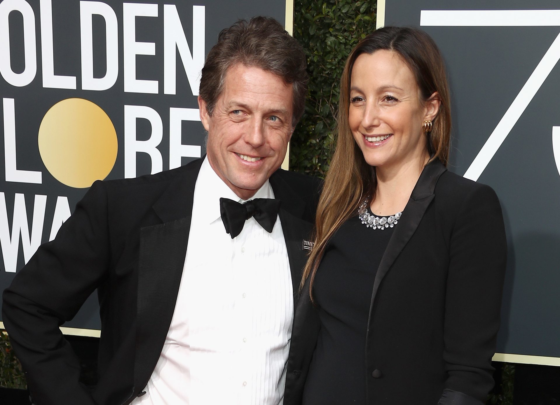 Hugh Grant and Anna Eberstein attend The 75th Annual Golden Globe Awards (Frederick M. Brown/Getty Images)
