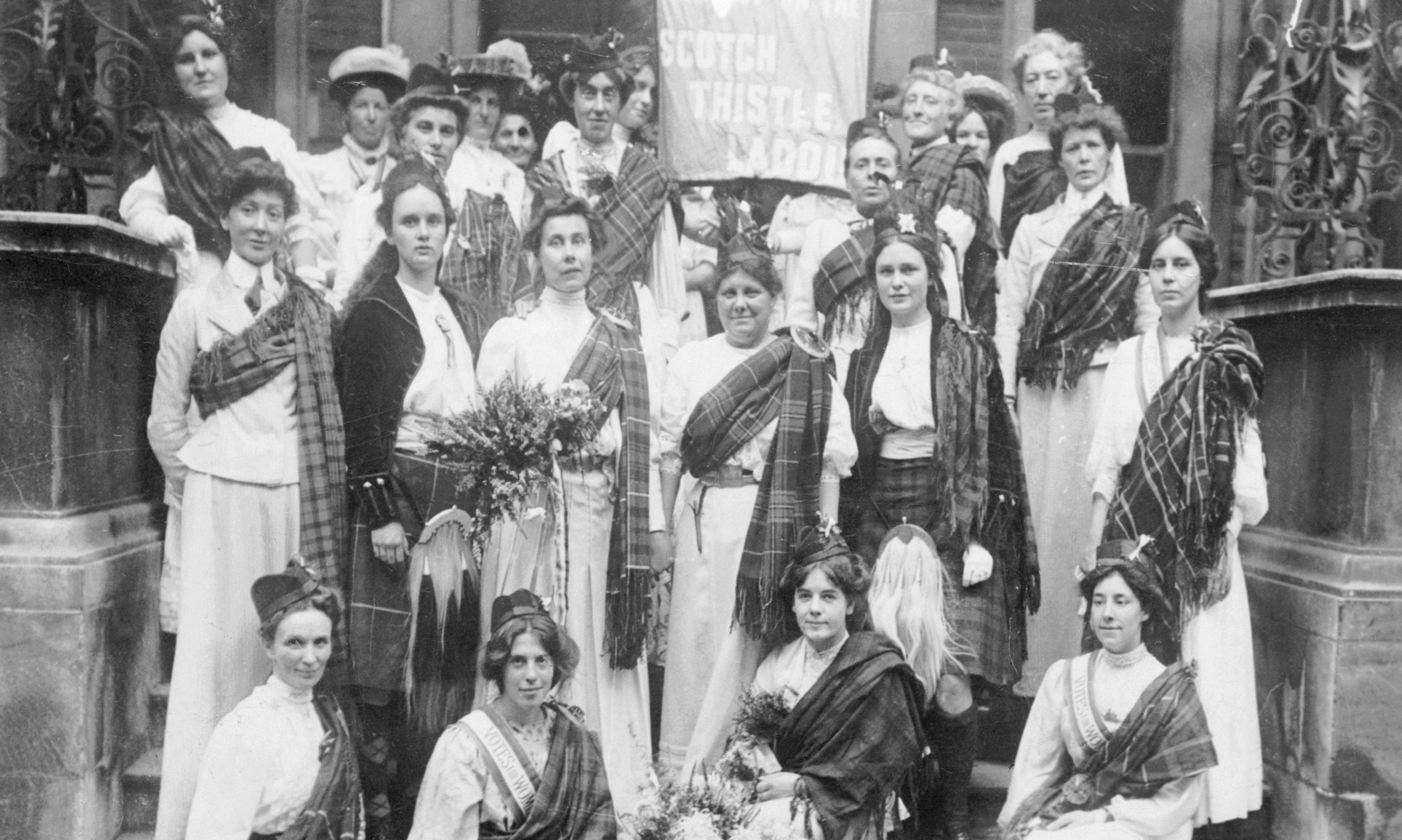 Scottish suffragettes welcome Mary Phillips, standing third from left, after she is freed from Holloway prison in London in August 1908 (Heritage Image Partnership Ltd)