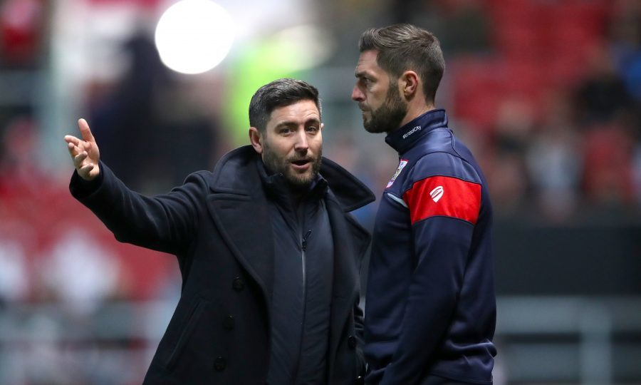 Bristol City Manager Lee Johnson speaks with Assistant Head Coach Jamie Mc Allister