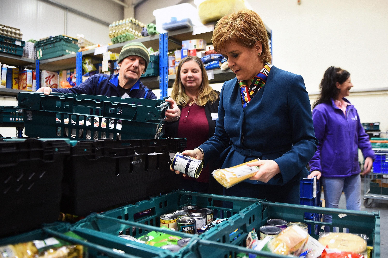 Scotland's First Minister Nicola Sturgeon visits food bank (Andy Buchanan/PA)