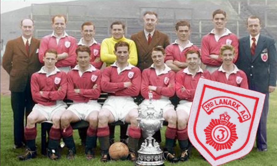Third Lanark players and officials with the Glasgow Charity Cup in 1954, after a 1-0 defeat of Rangers