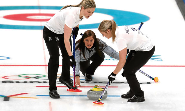 Great Britain's skipper Eve Muirhead during the women's Round Robin match against Denmark at the Gangneung Curling Centre during day eight of the PyeongChang 2018 Winter Olympic Games in South Korea. (Mike Egerton/PA Wire)